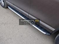 Volkswagen Touareg 2014 Пороги алюминиевые с пластиковой накладкой (1920 из 2-х мест)